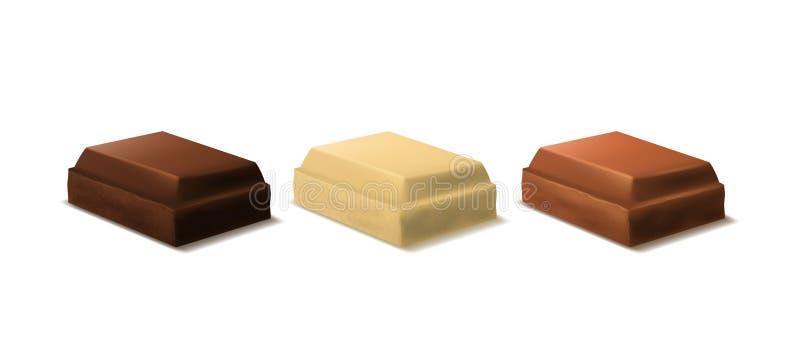 现实3d详述了巧克力片集合 向量 向量例证