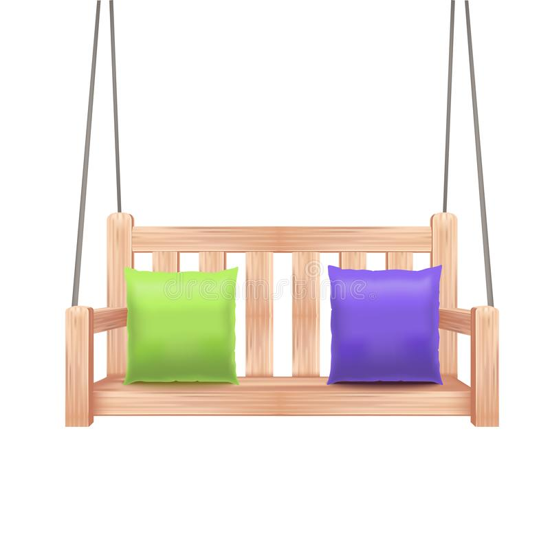 现实3d详述了木摇摆长凳 向量 库存例证