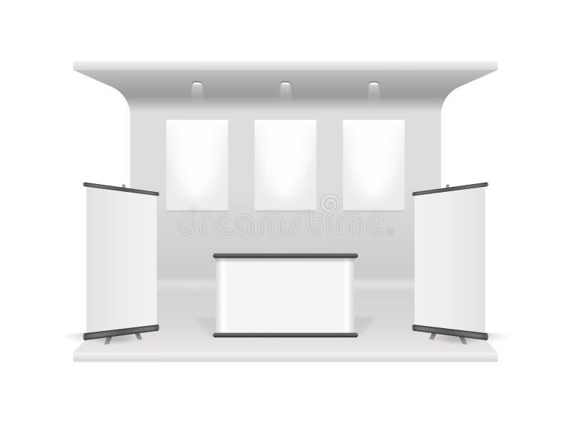 现实3d详述了白色空白的陈列立场建筑模板大模型 向量 向量例证