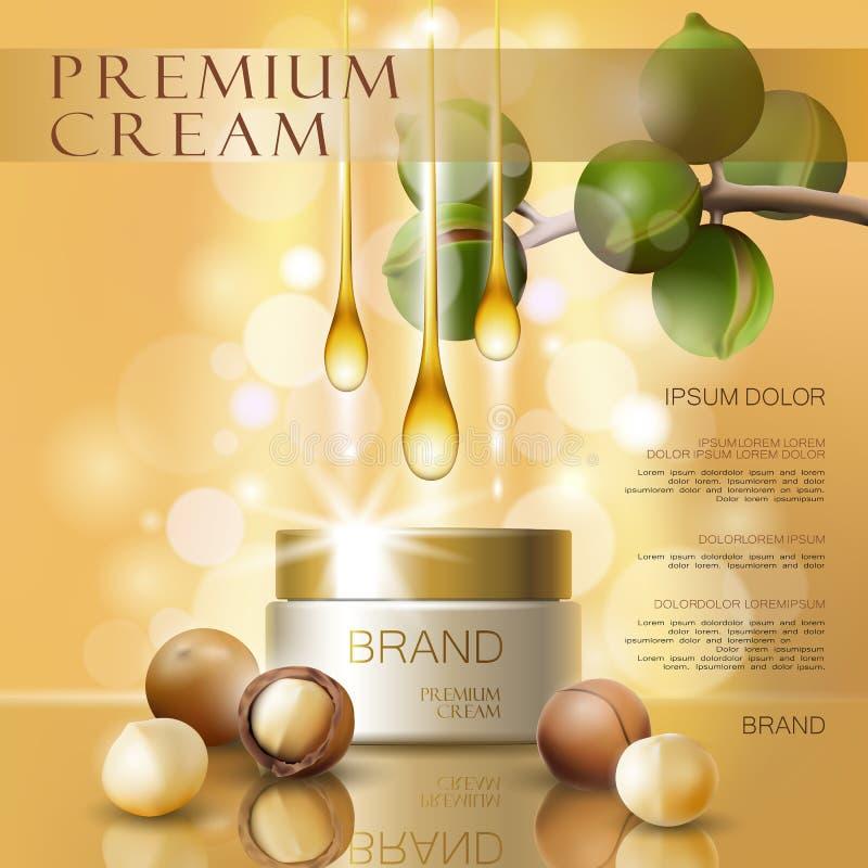 现实3d马卡达姆坚果油化妆广告模板 浅粉红色的发光的血清奶油大模型秀丽护肤 增进 皇族释放例证