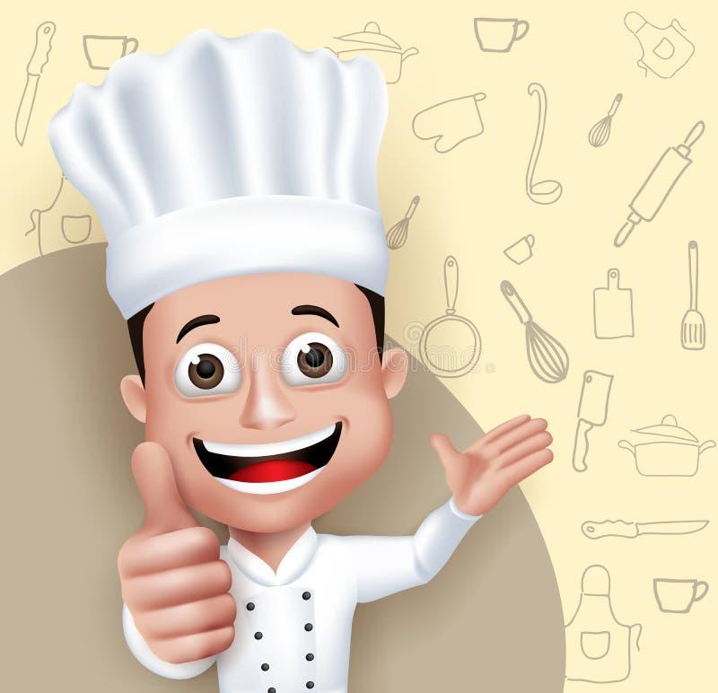 现实3D年轻友好的专业厨师厨师字符 皇族释放例证