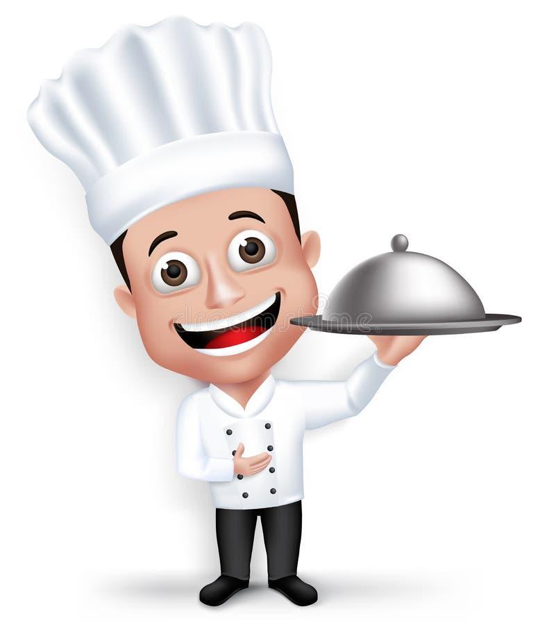 现实3D年轻友好的专业厨师厨师字符 向量例证