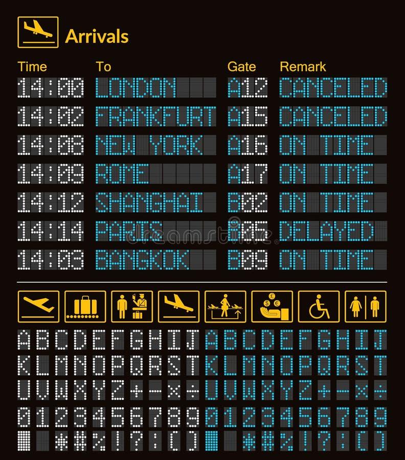 现实LED数字式板机场模板 向量 皇族释放例证