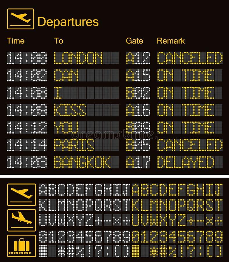 现实LED数字板机场模板 与字母表和数字的传染媒介3D黄色LED数字字体在黑暗的背景eps 皇族释放例证