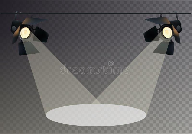 现实Transperent背景聚光灯 光线影响 场面,演播室,展示 也corel凹道例证向量 皇族释放例证