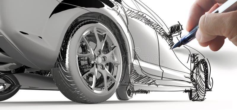 现有量凹道一辆模型汽车 库存例证