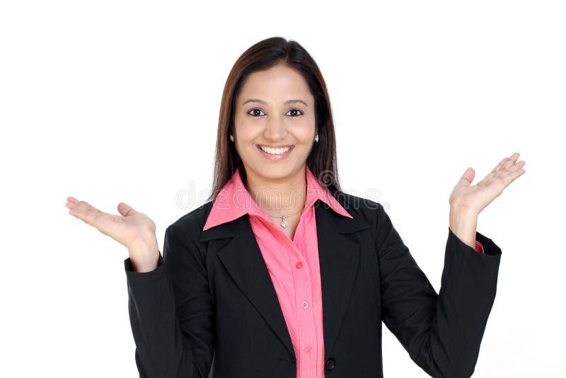 现有量开放掌上型计算机妇女 免版税库存照片