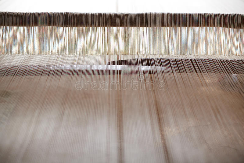 现有量提花织机线程数编织羊毛 库存照片