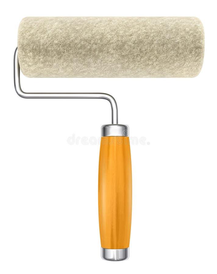 现有量查出的新的漆滚筒工具 库存例证
