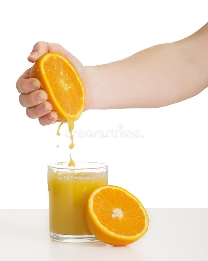 现有量汁液桔子挤压 库存照片