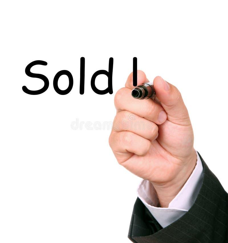 现有量男出售书面的世界 库存图片