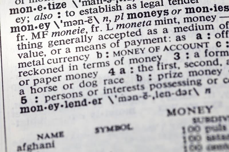 现款支付中等定义字典 免版税库存图片