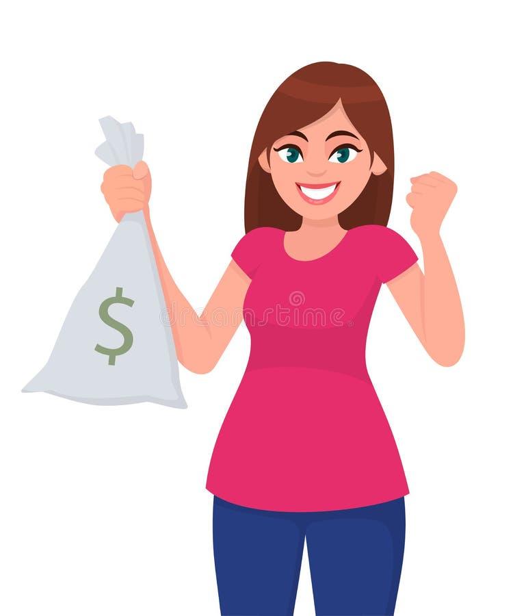 现金、金钱、货币笔记袋子与美元的符号和被举的手拳头有愉快的赢得或成功的年轻女人举行/显示 向量例证