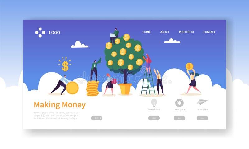 现金上涨投资着陆页模板 女商人浇灌的金钱树 收集金黄硬币的字符队 皇族释放例证