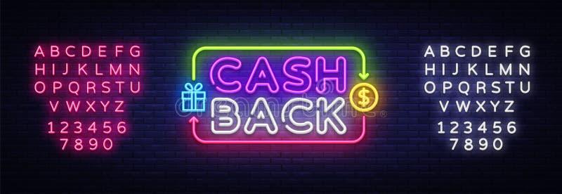 现金后面标志传染媒介设计模板 兑现后面标志霓虹商标,轻的横幅设计元素五颜六色的现代设计 皇族释放例证