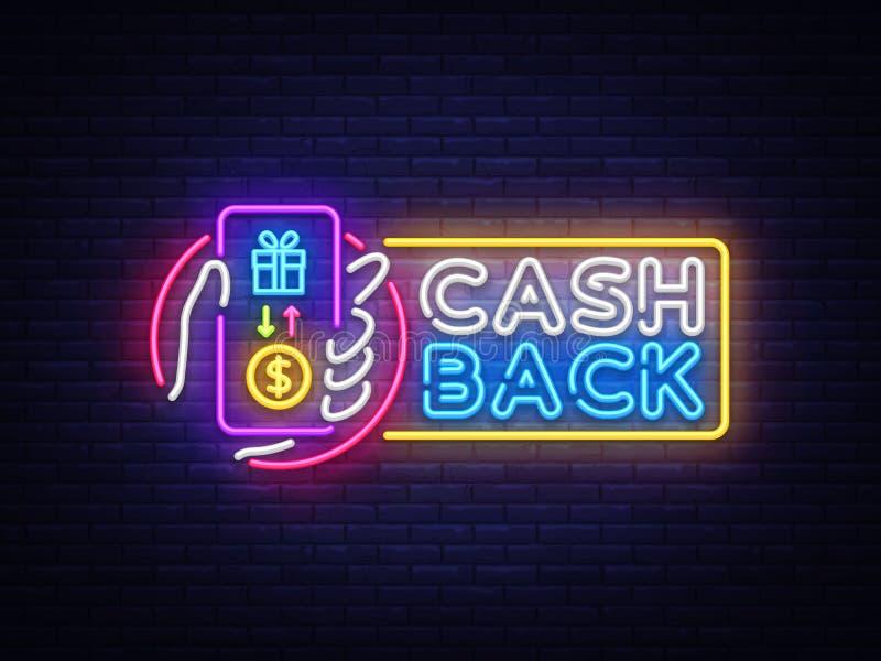 现金后面标志传染媒介设计模板 智能手机手中现金后面标志霓虹商标,轻的横幅设计元素 向量例证