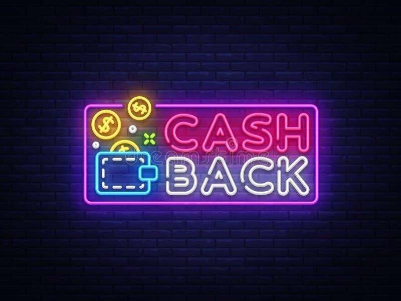 现金后面标志传染媒介设计模板 钱包现金后面标志霓虹商标,轻的横幅设计元素五颜六色现代 皇族释放例证