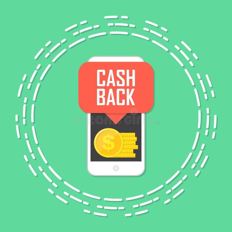 现金后面概念 有硬币金钱的智能手机 也corel凹道例证向量 库存例证