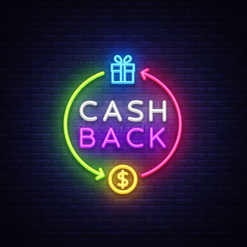 现金后面霓虹商标传染媒介 兑现后面霓虹灯广告,设计模板,现代趋向设计,赌博娱乐场霓虹牌,夜 库存例证