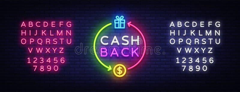 现金后面霓虹商标传染媒介 兑现后面霓虹灯广告,设计模板,现代趋向设计,赌博娱乐场霓虹牌,夜 向量例证