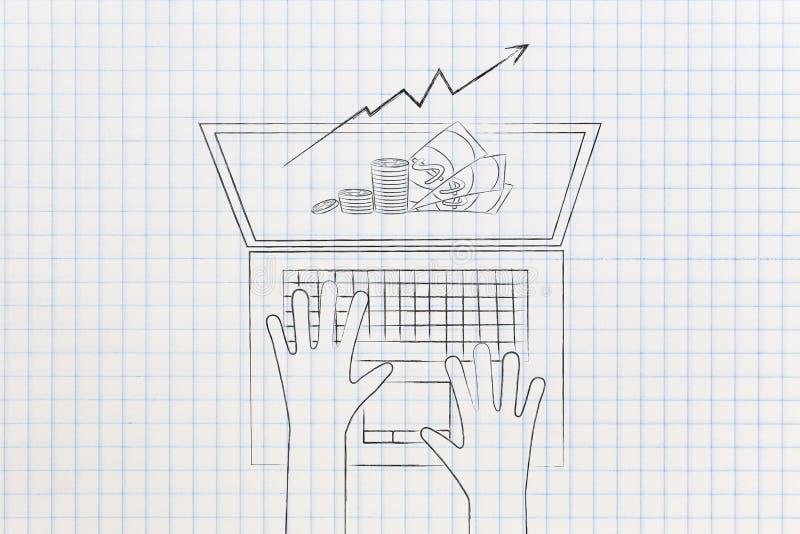 现金和利润增长stats流行在从a的膝上型计算机屏幕外面 皇族释放例证