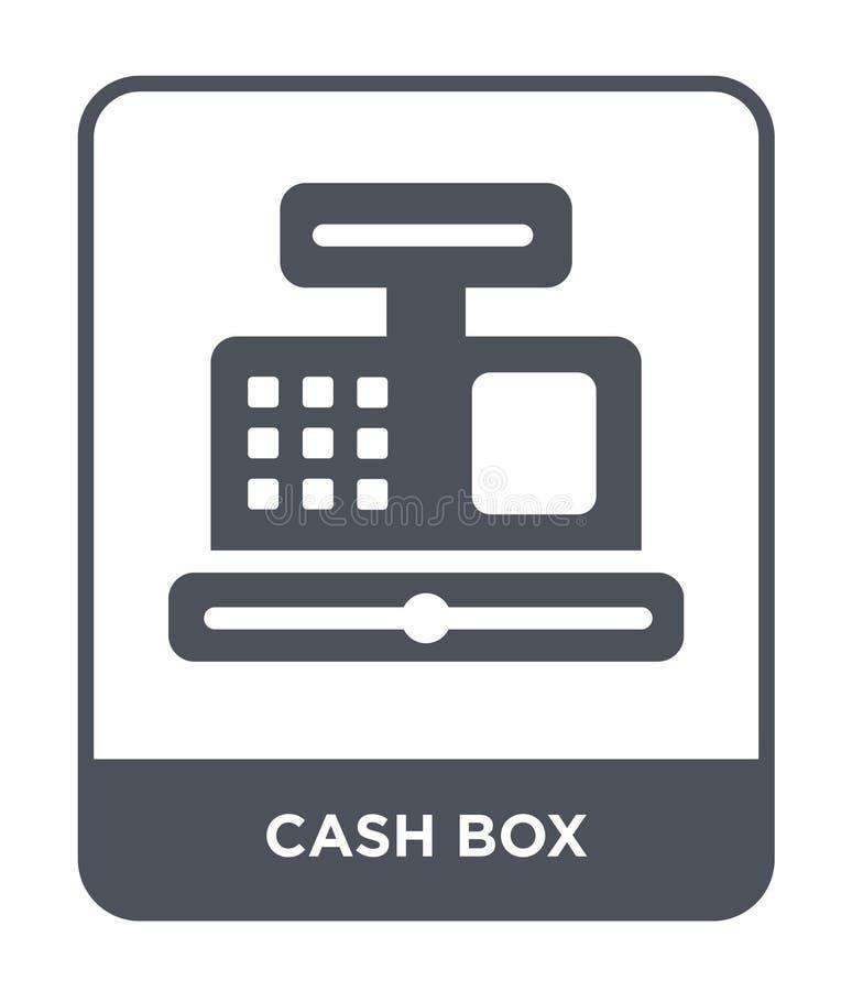 现金在时髦设计样式的箱子象 现金在白色背景隔绝的箱子象 现金箱子传染媒介象简单和现代舱内甲板 皇族释放例证