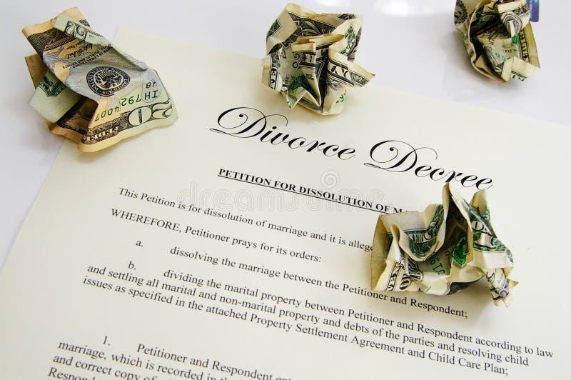 现金旨令离婚 免版税库存图片