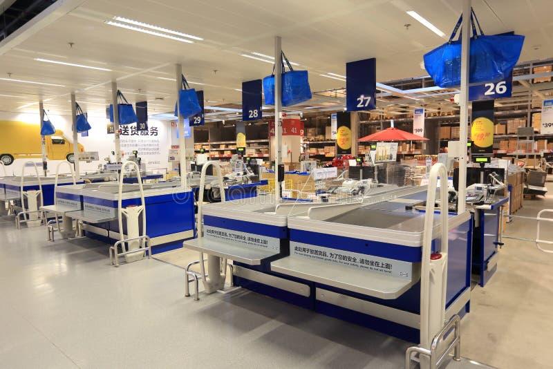 现金点在超级市场商店 免版税库存照片