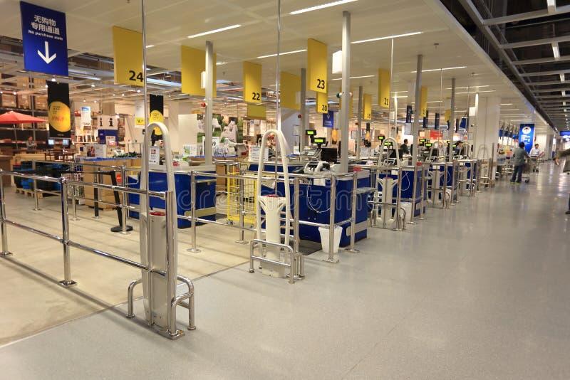 现金点在超级市场商店 免版税库存图片