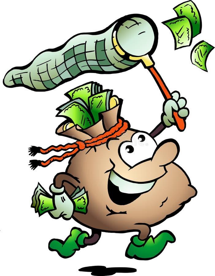 现金狩猎例证货币大袋向量 库存例证