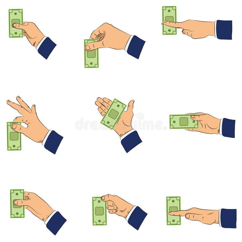现金现有量 由两个手指递拿着现金,水平地 向量例证