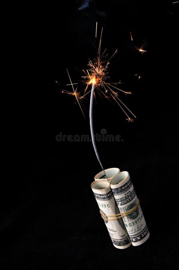 现金被点燃的炸药保险丝 免版税图库摄影