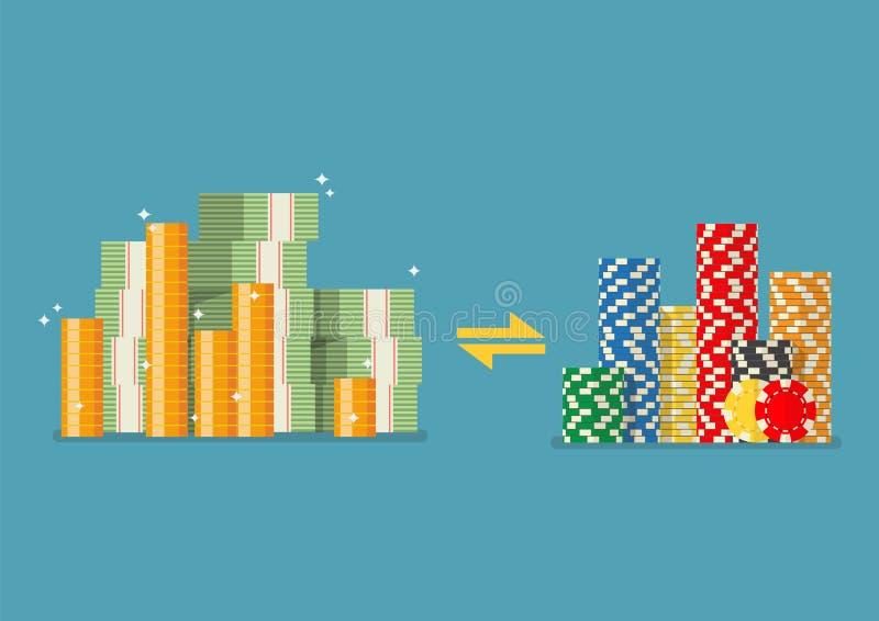 现金赌博娱乐场芯片的兑换处 库存例证