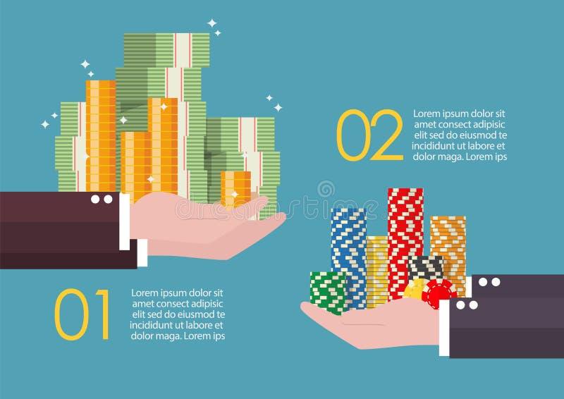 现金金钱和赌博娱乐场交换切削infographic 库存例证