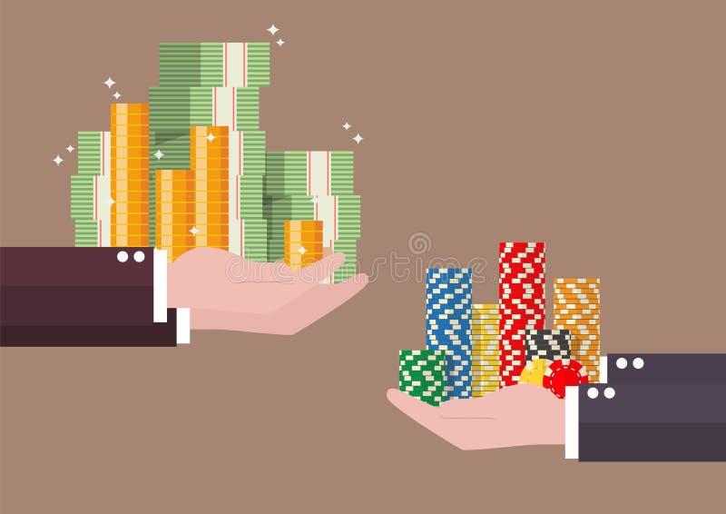 现金金钱和赌博娱乐场芯片交换  库存例证