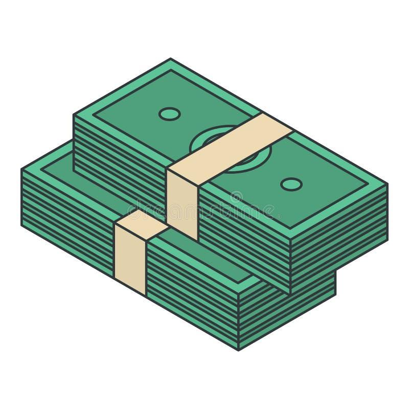 现金金钱组装象,等量样式 向量例证