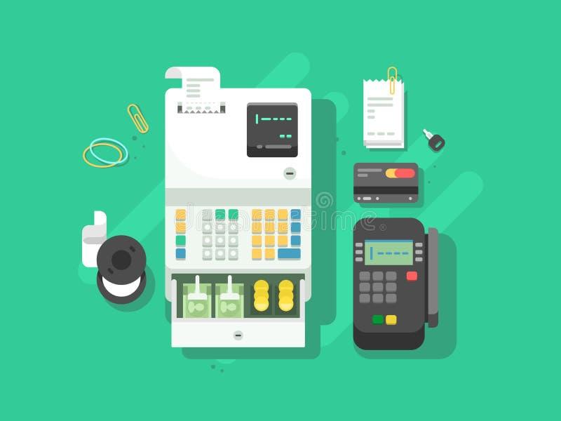 现金machne和数字式终端卡片的 库存例证
