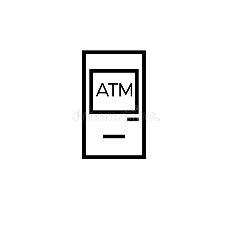 现钞机象线冲程黑色 简单的图标 向量例证