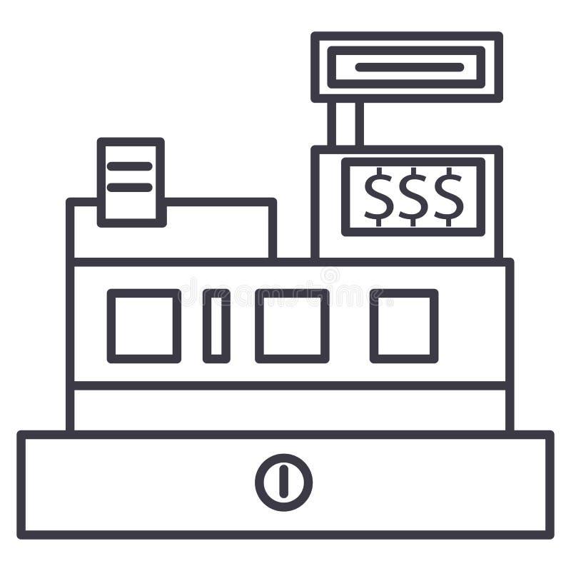 现钞机,商店记数器传染媒介线象,标志,在背景,编辑可能的冲程的例证 库存例证