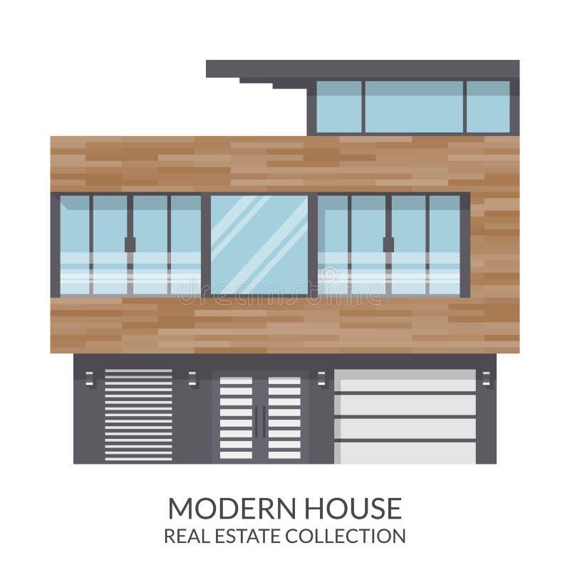 现代三层房子,房地产签到平的样式 也corel凹道例证向量 皇族释放例证