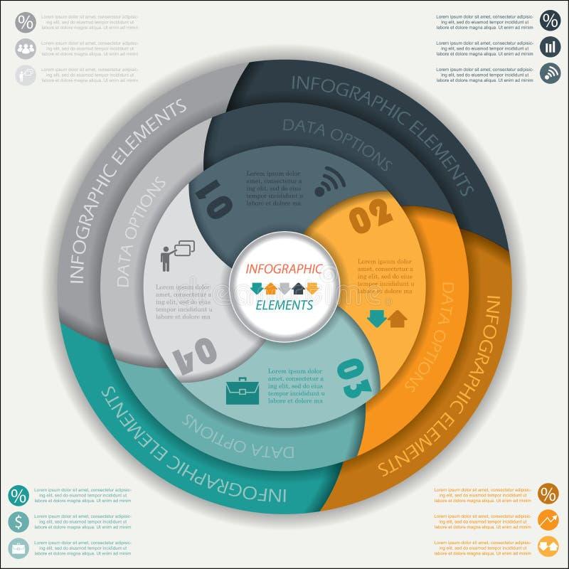 现代与圈子,您的设计的传染媒介infographic模板 库存例证