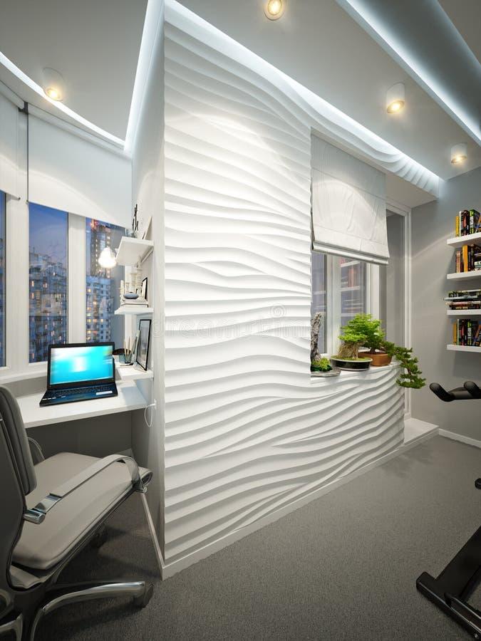 现代与工作场所和体育地区的阳台室内设计 库存例证