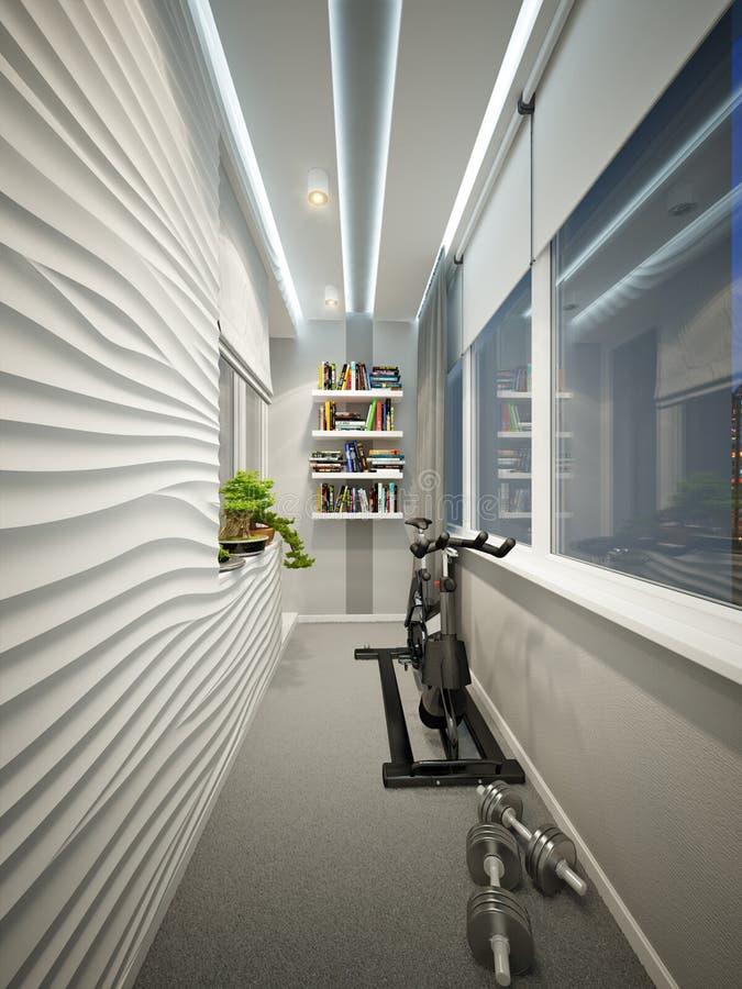 现代与工作场所和体育地区的阳台室内设计 向量例证