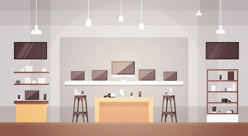 现代与拷贝空间的电子商店商店内部横幅 向量例证