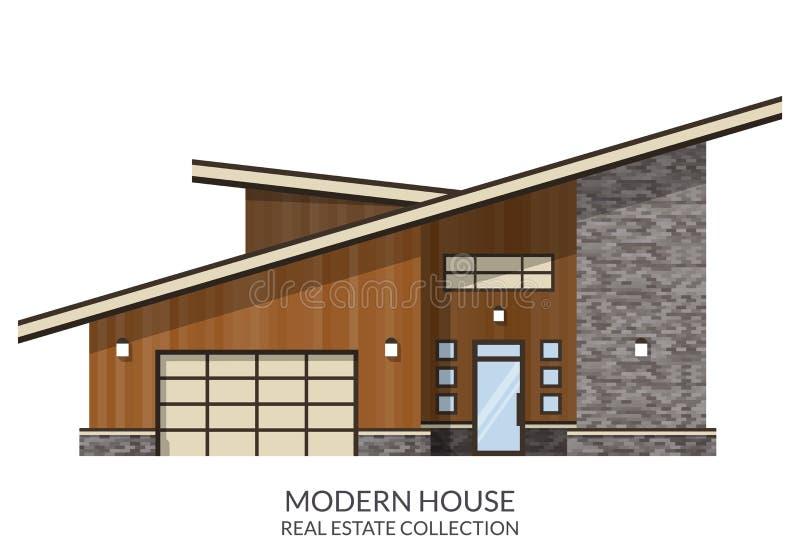 现代乡间别墅,房地产签到平的样式 库存例证