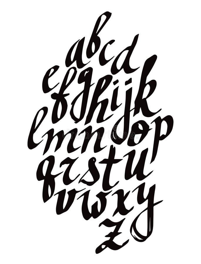 现代书法刷子字法 传染媒介与独特的印刷术的卡片或海报设计 手书面书法字母表 向量例证