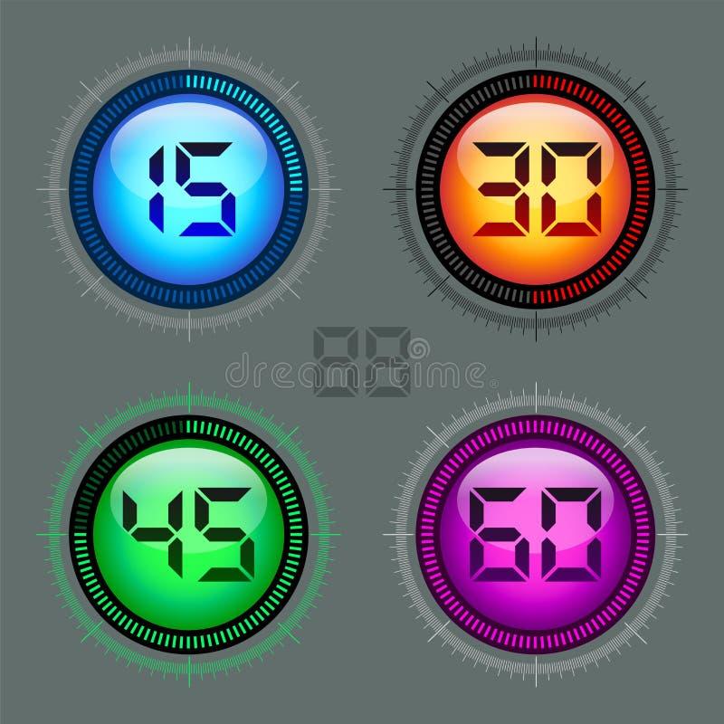 现代五颜六色的数字式定时器 库存例证