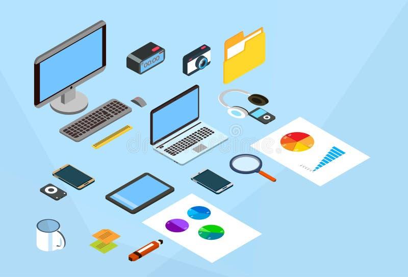 现代企业巧妙的设备集合手机便携式计算机3d等量工作场所 库存例证