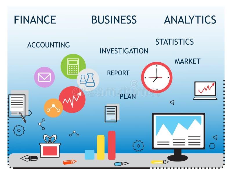 现代企业概念、分析家和财务 向量例证
