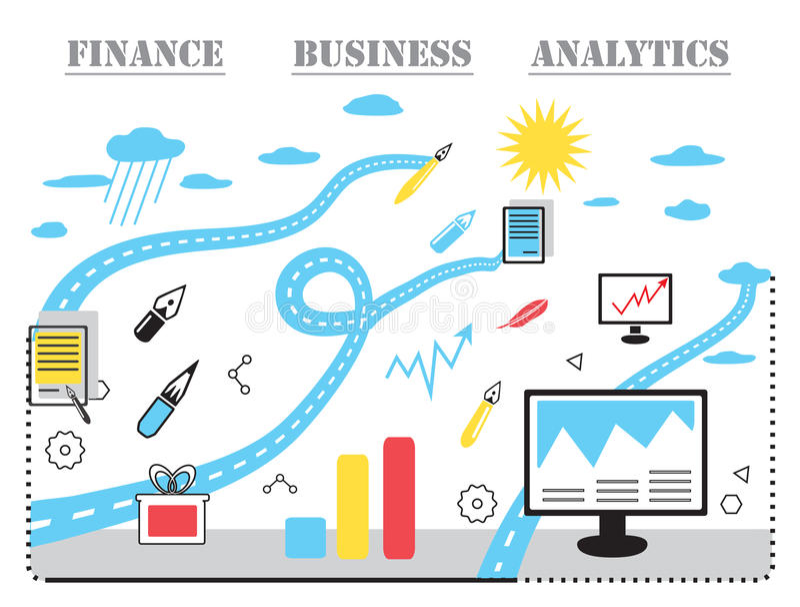 现代企业概念、分析家和财务 皇族释放例证